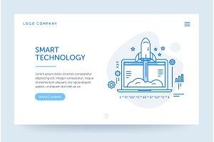 Startup company illustration. Web banner. Blue flat line style. Home page concept. UI design mockup.