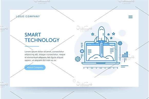 Startup Company Illustration Web Banner Blue Flat Line Style Home Page Concept UI Design Mockup