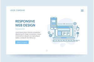 Responsive design illustration. Web banner. Blue flat line style. Home page concept. UI design mockup.