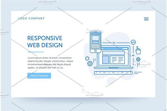 Responsive Design Illustration Web Banner Blue Flat Line Style Home Page Concept UI Design Mockup