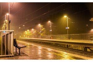 Victoria Park station in the rain at night - Melbourne, Australia