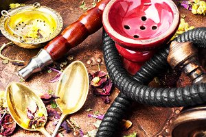 Asian tobacco hookah with floral tea