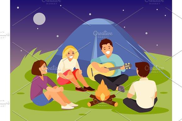 Friends Near A Fire
