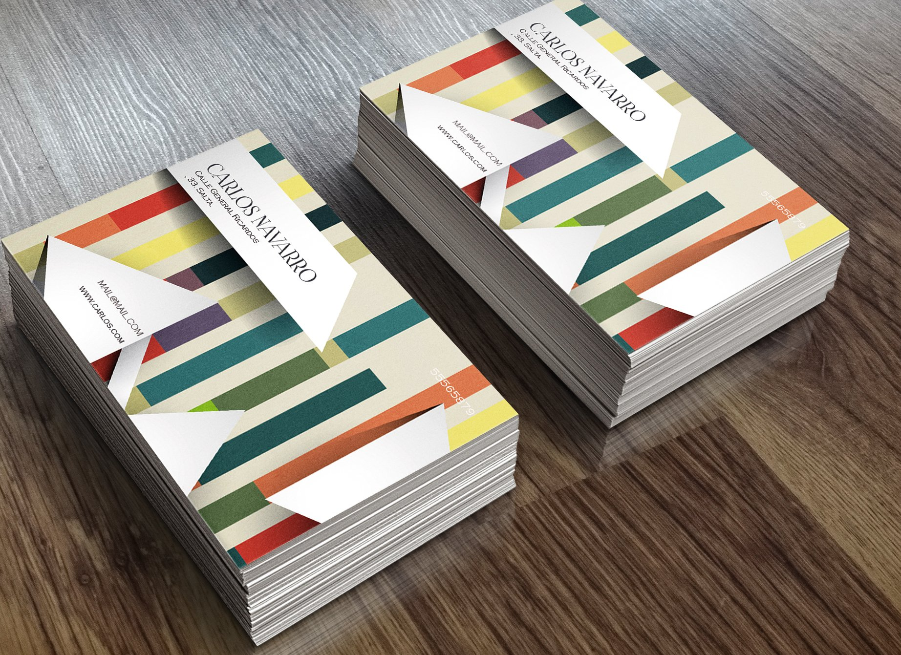 business card striped color 3d business card templates creative market - 3 D Business Card