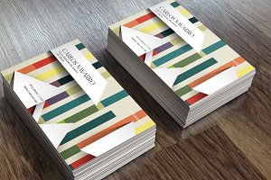 Business card striped color 3D