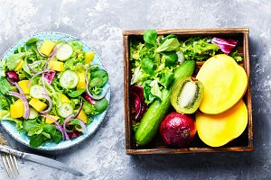 Vegetarian salad with vegetable and