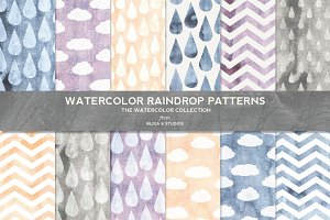 Watercolor Raindrop Digital Patterns