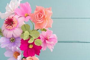 Crepe paper flower bouquet