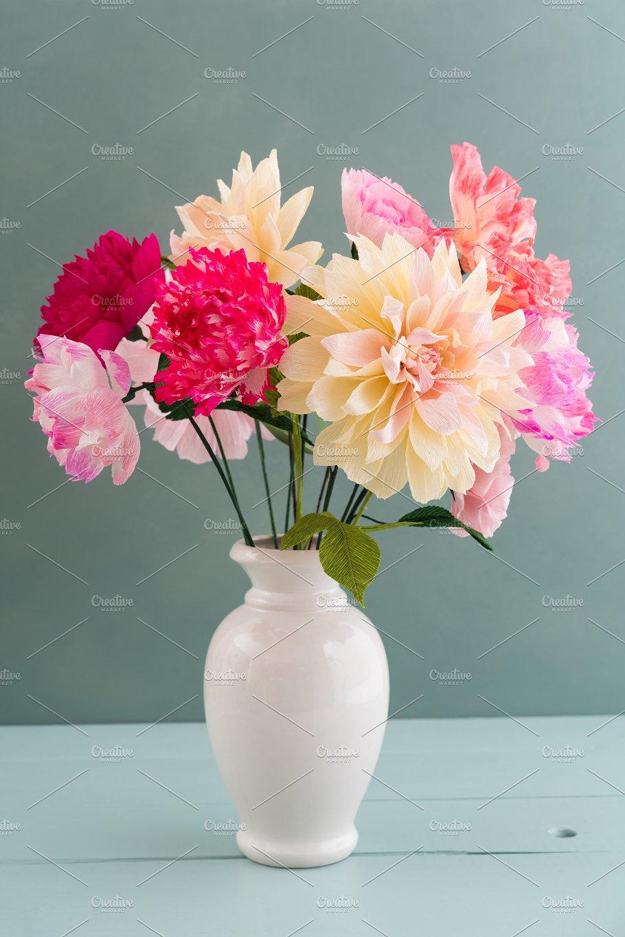 Crepe Paper Flower Bouquet Nature Photos Creative Market