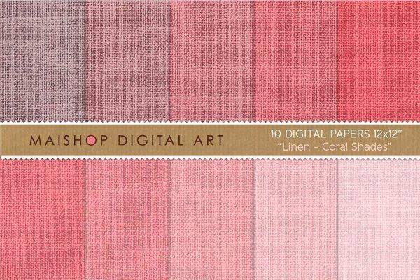 Digital Paper-Linen-Coral Shades