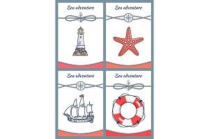 Sea Adventure Placards Set Vector Illustration