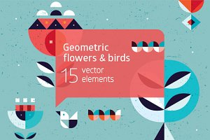 Geometric flowers & birds collection
