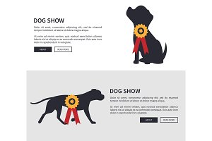 Dog Show Poster Web Pages Set Vector Illustration
