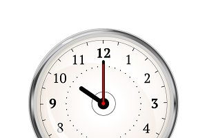 Realistic clock face showing 10-00