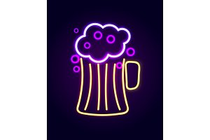 Beer Pint with Foam Neon Sign Vector Illustration