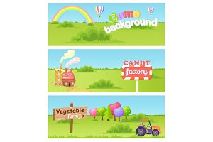 Fairy Cartoon Flat Vector Concept Landscapes Set