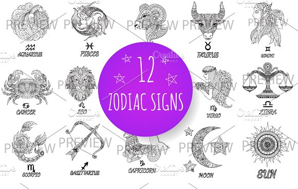12 Zodiac Signs Sun And Moon