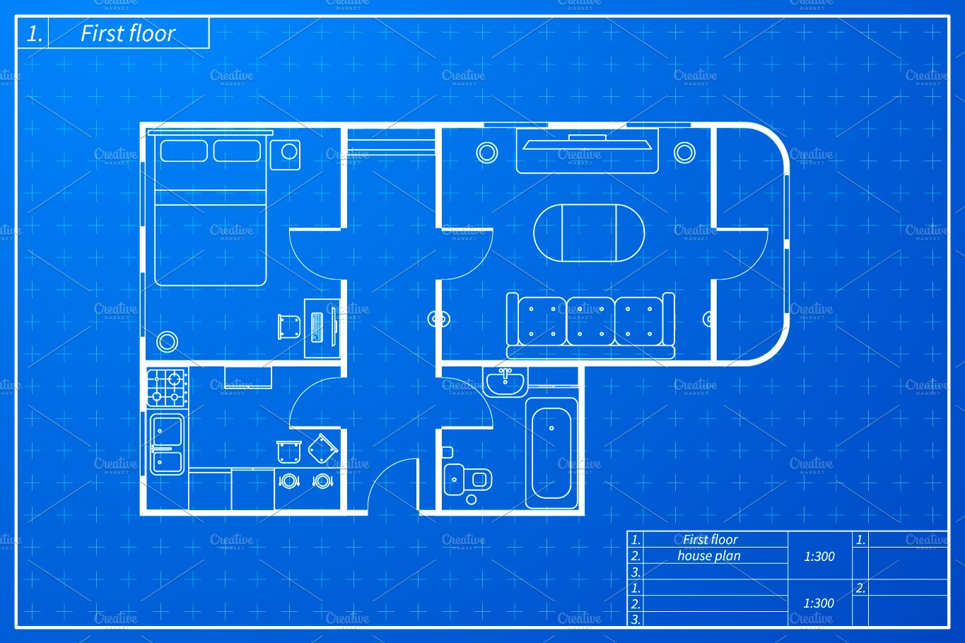 Blueprint style house plan illustrations creative market malvernweather Gallery