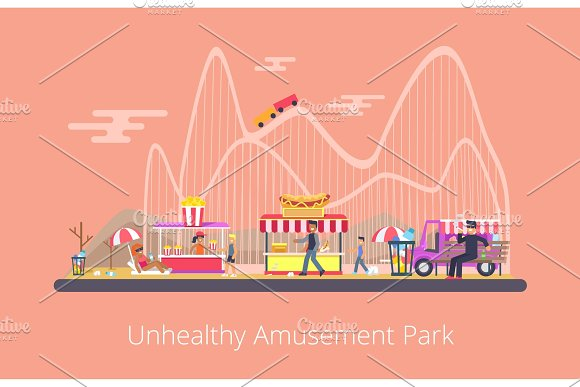 Unhealthy Amusement Park Vector Illustration