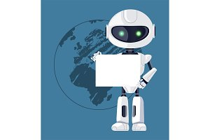 Robot with Paper and Earth Vector Illustration
