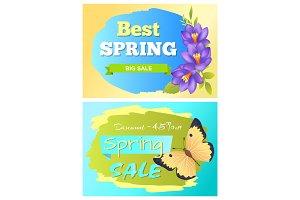 Best Spring Big Sale Advertisement Labels Crocus