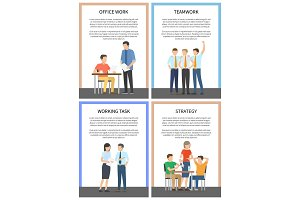 Office Work and Strategy Set Vector Illustration