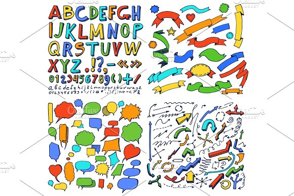 Colorful Hand Drawn Elements Vector Illustration