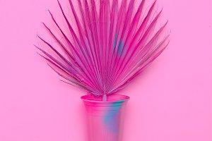 Pink Palm Art. Minimal fashion desig
