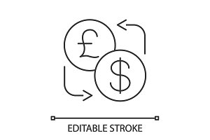 Dollar and British pound currency exchange linear icon