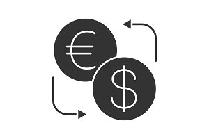 Euro and dollar currency exchange glyph icon