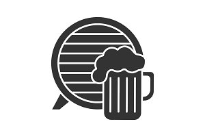 Craft beer pub glyph icon