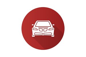 Car front view flat design long shadow glyph icon