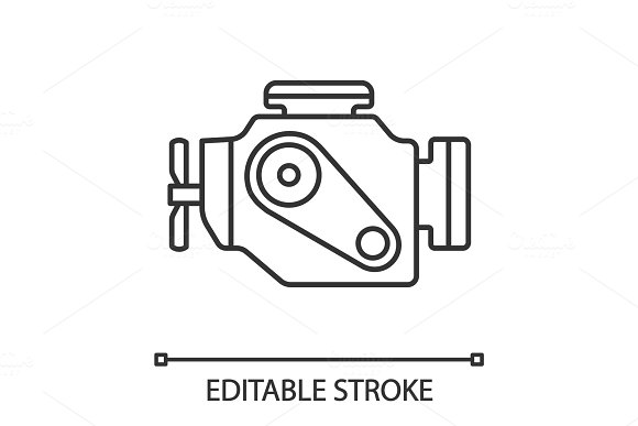 Car Engine Linear Icon