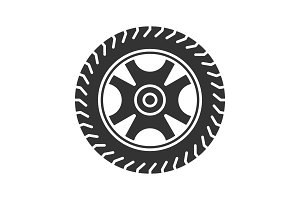 Car rim and tire glyph icon
