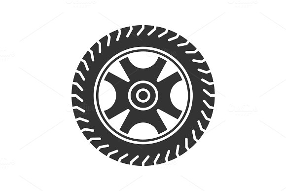 Car Rim And Tire Glyph Icon