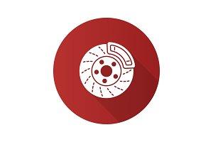 Disc brake with caliper flat design long shadow glyph icon