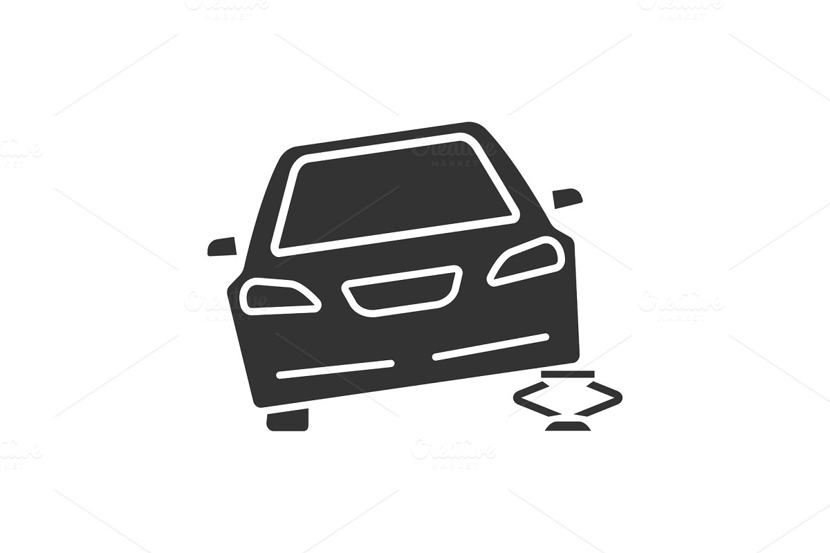Portable car jack glyph icon