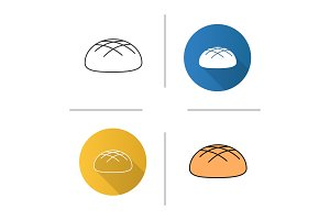 Round rye bread loaf icon