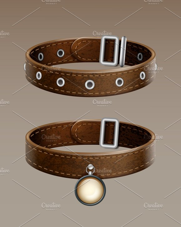 Realistic Brown Leather Dog Collar