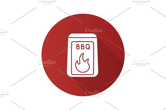 Barbeque coal flat design long shadow glyph icon