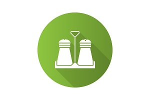 Salt or pepper shaker flat design long shadow glyph icon