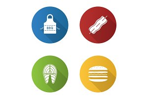 Barbecue flat design long shadow glyph icons set