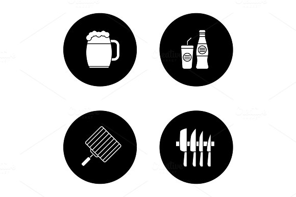 Barbecue glyph icons set in Icons