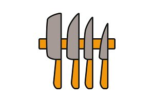 Knives set color icon