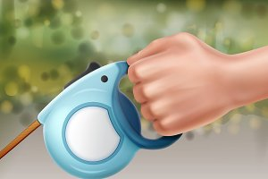 Automatic retractable leash in hand
