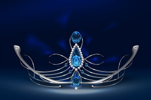 Silver diadem with sapphires