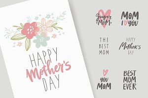 Mother's day card, lettering