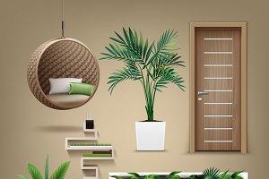 Vector eco-minimalist furniture