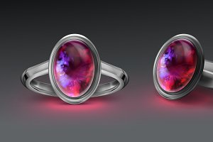 Silver ring with bright fire opal