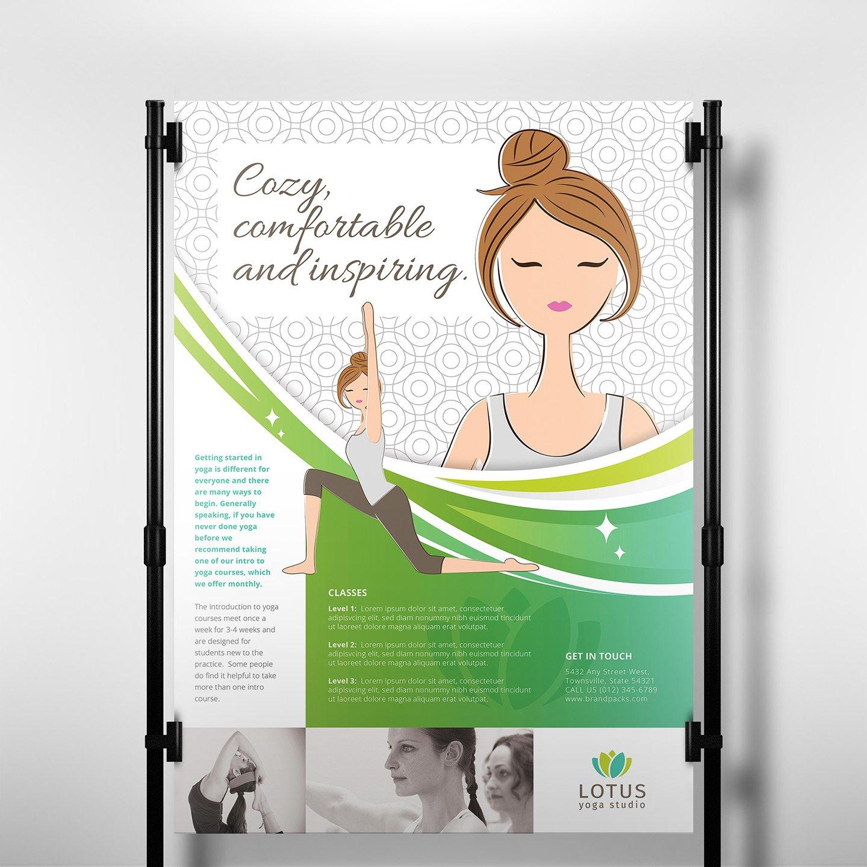 a3 yoga studio poster template flyer templates creative market